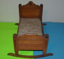 Antique Victorian Doll Bed Cradle With Mattress Toy Doll Bed