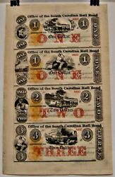 Uncut Obsolete Currency Sheet 1123 Office Of The South Carolina Rail Road