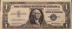 Gorgeous Uncirculated One Dollar 1957 Silver Certificate Star Note Blue Seal
