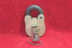 Brass Lock And Key 1900s Old Vintage Antique Rare 6 Lever Collectible Bb-10