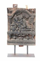 Wooden Krishna Wall Panel 1900s Old Vintage Rare Home Decor Collectible Q-54