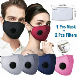 Cotton Face Mask W/ 2 Filters Washable Reusable Activated Carbon Respirator Lot