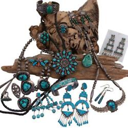 Native American Jewelry Vintage Dishta Squash Blossom Earrings Necklace Ring Lot