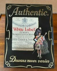 Authentic Dewars White Label Scotch Whisky Bar Man Cave Sign Picture Under Glass