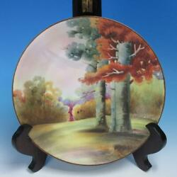 Hand Painted Nippon Porcelain Wall Plaque Fall Woodland Forest Scene - 10 Inch