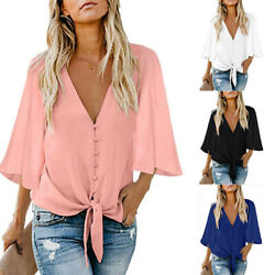 Women Deep V Neck Ruffle Mid Sleeve T Shirt Casual Solid Blouse Loose Button Top $13.99