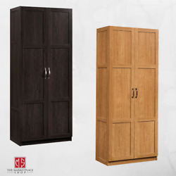 Oak Finish Storage Cabinet Pantry Laundry Closet Organizer Utility Shelves Doors