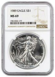 1989 Silver Eagle Ngc Ms69 Bright White Gem