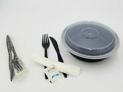 24 Oz 7 Round Microwavable Container Combo + Individually Wrapped Cutlery Set