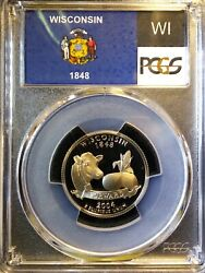 2004-s Pcgs Pr69dcam Proof Coin Wisconsin State Quarter. Flag Series. Clad