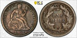 1873 Seated Liberty W/ Arrows Dime Ddo Fs-101 F-103 Pcgs F15 Double Die Obv