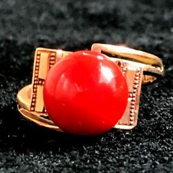 Antique Vtg 14k Solid Gold Chinese Imported Ring Signed Marked Stone Size 5