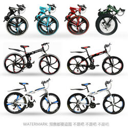 26 Folding Mountain Bike 21 Speed 2 Disc Brakes Full Suspension Mtb 3/6 Spokes