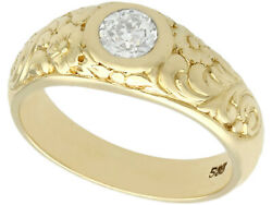 Antique 0.42ct Diamond And 14carat Yellow Gold Men's Solitaire Ring Size N 1/2