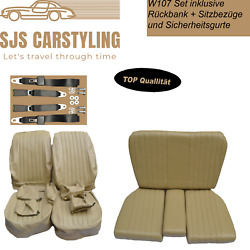 Seat Covers + Back Seat + Seat Belts, Beige For Mercedes Sl R/w107