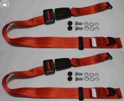 Static Lap Belt Set For Renault R5, R9, R20, R30, Fuego, Red 30cm Band