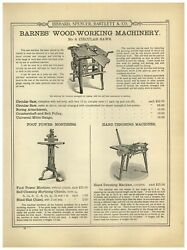 1899 Paper Ad Barnes' Wood Working Machines Foot Pedal Power Lathe Former Saw
