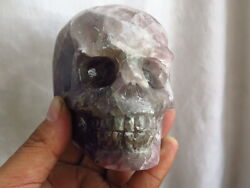Top 966g Rare Natural Purple Fluorite Carved Skull Crystal Healing A55