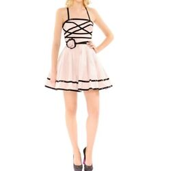 Betsey Johnson Seen On Icarly Dresden Doll Rose Dress With Sequin Black Trim 10
