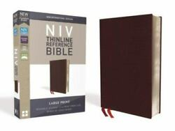 Niv, Thinline Reference Bible, Large Print, Bonded Leather, Burgundy, Red Lett..