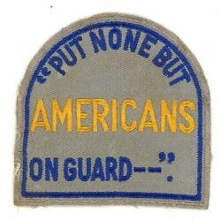 Ww2 Wwii Us Home Front Put None But Americans On Guard -- Police Patch Ssi