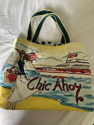 Large Brighton Canvas Beach Bag Multi Color Chic Ahoy Very Lightly Used $12.00