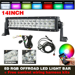 14 Inch Off Road 5d Led Light Bar 6000k White,rgb Multi-color Changing And Wiring