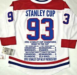 L/xl Montreal Canadiens 1993 Stanley Cup Commemorative Youth Premier Stat Jersey