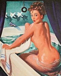 Sale Gil Elvgren Jeepers Peepers Original Painting Pin-up Bath Tub Pinup Vancas