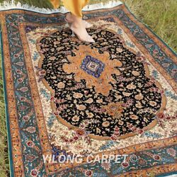 Yilong 4and039x6and039 Hand Knotted Silk Area Rugs Indoor Handmade Medallion Carpet 1947