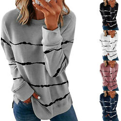 Fall Women Casual Long Sleeve T Shirt Crew Neck Tops Floral Blouse Size Plus $15.99