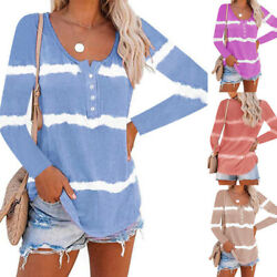 Women Long Sleeve Crew Neck Floral Tie dye Blouse Casual Loose Tunic Top T Shirt $13.99