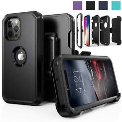 For iPhone 11 12 Pro Max Shockproof Defender Case With Stand Belt Clip Holster $7.99