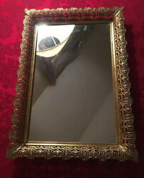 Antique Ornate Tray Note Mirror Has Signs Of Use