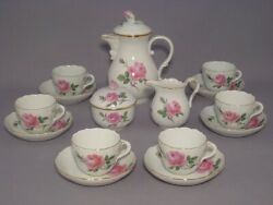 Meissen Pink Rose Coffee Set For 6🌸rare+mint Condition🌸