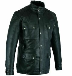 Vintage Motorcycle Waxed Leather Trailmaster 2.0 Jacket Belstaff Style Incl Ce A