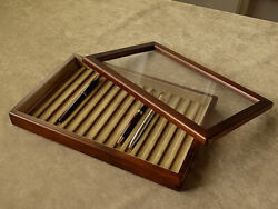Toyooka Craft Wooden Pen Tray With Cover Sc111 Tray Of 15 Fountain Pens