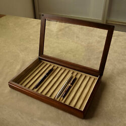 Toyooka Craft Wooden Pen Tray With Fixed Lid Sc112 Tray Of 15 Fountain Pens