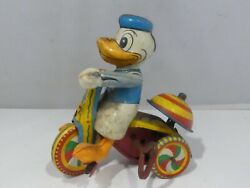 Line Mar Donald Duck Tricycle Wind Up Toy Working