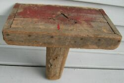Antique Rustic Milking Stool, Chuny One Center Leg, Old Red Paint