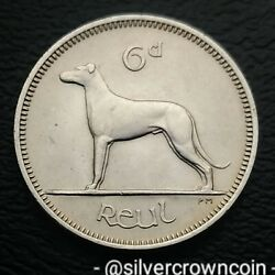 Ireland, Eire 6 Pence 1961. Km13a. Sixpence Coin. Wolfhound. Dog. Animals. H