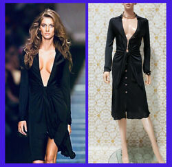 S/s 2000 Look3 Vintage Gianni Versace Couture Black Dress 40 - 4