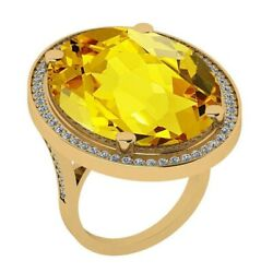 Certified 32.71ctw Lemon Topaz And Diamond In Yellow Gold Supports Charity