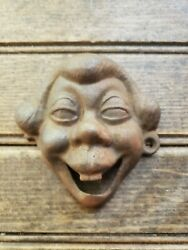 Wall Mounted Antique Faced Cast Iron Bottle Opener / One Screw Hole Broken