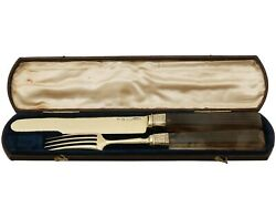 Indian Silver Gilt And Agate Handled Travelling Knife And Fork - Antique Circa 1