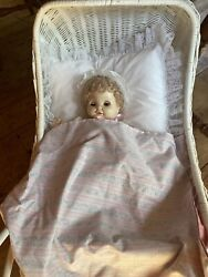 Royal Doll Baby With Wicker Stroller, Bedding, And 4 Outfit Changes