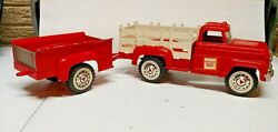 1960and039s Hubley Mighty Metal Stake Farm Truck And Trailer 800 Gmc