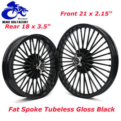 21 And 18 Fat Spoke Front Rear Wheel Rim Set For Touring Softail Dyna Gloss Black