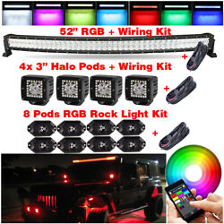 52 In Rgb Off Road Curved Led Light Bar + 4x 3 Halo Pods + 8 Rgb Rock Light Kit