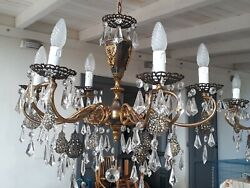 Exquisite Vintage Ornate Italian Chandelier Fine Filigree And Crystal